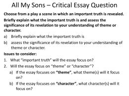 All My Sons – Critical Essay Question