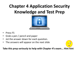 Chapter 4 Application Security Knowledge and