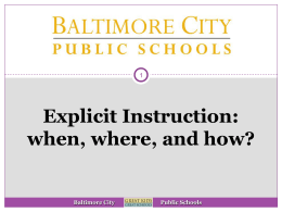 Explicit Instruction - When, where, and how (new window)