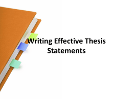 Writing Effective Thesis Statements