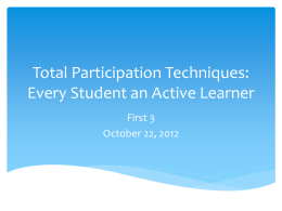 Total Participation Techniques: Every Student an Active Learner
