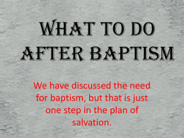 What To Do After Baptism