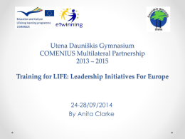 Utena Dauni*kis Gymnasium - Training-for-LIFE