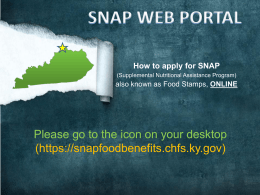 SNAP Web Portal How