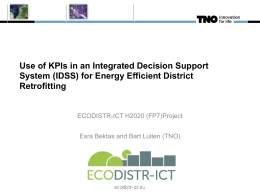 Use of KPIs in an Integrated Decision Support System for Energy