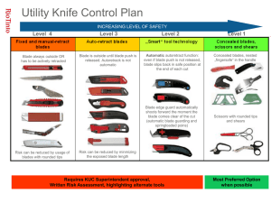 Utility Knife slide for contractor orientation