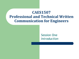 Professional and Technical Written Communication