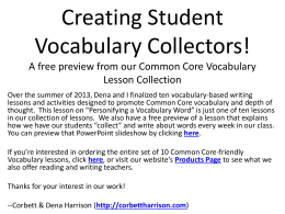 Personifying Vocabulary Words