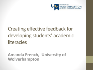 Creating effective feedback for developing students* academic