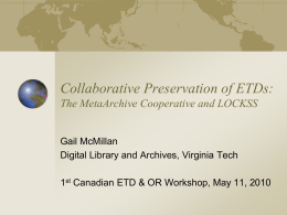 Presentation - Digital Library and Archives