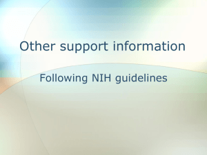 Other Support Information - Following NIH Guidelines