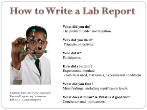 Writing a Lab Report.. - California State University, Long Beach