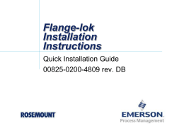 Flange-Lok Annubar Installation Instructions