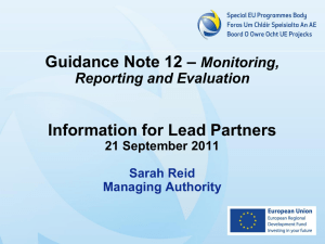 Guidance Note 12 - SEUPB Presentation (M&E Workshop