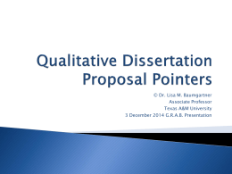 Dissertation Proposal Pointers