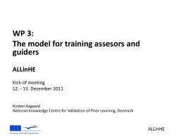 WP 3: The model for training assesors and guiders