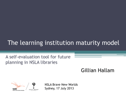 The learning institution maturity model: A self
