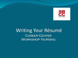 Résumé Workshop - Nursing LVN