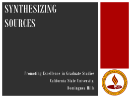 Synthesizing Sources - Promoting Excellence in Graduate Studies