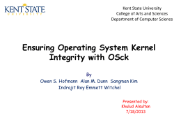Khulud Alsultan`s presentation on OS Integrity