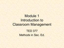Introduction to Classroom Management