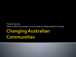 Changing Australian Communities