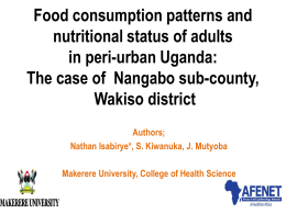 Food consumption patterns and nutritional status of adults in peri