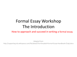 ideal job essay