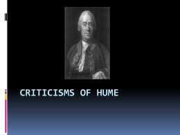 Criticisms of Hume - The Richmond Philosophy Pages