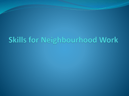 Skills for Neighbourhood Work - Community Development Alliance