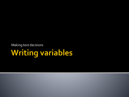 Writing variables