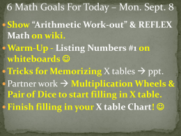 Goals for Today - September 8