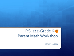 MNS Grade 2 Parent Math Workshop