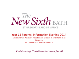 Year 12 Parents` Information Evening 1 Oct 2014 Ppt