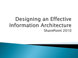 Designing an Effective Information Architecture (