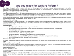 Are you ready for Welfare Reform?