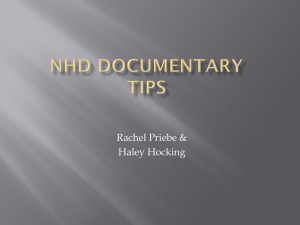NHD Documentary tips