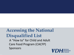 Accessing the National Disqualified List
