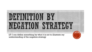 Negation Strategy - Renton School District