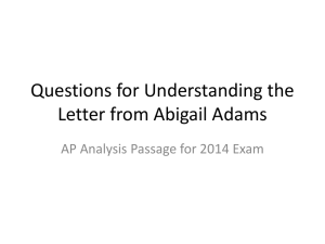 Questions for Understanding the Letter from Abigail