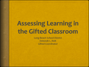 Assessment in the Gifted Classroom
