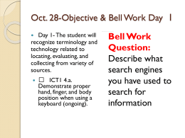 Objective & Bell Work *Day 1
