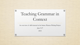 Teaching Grammar in Context PD