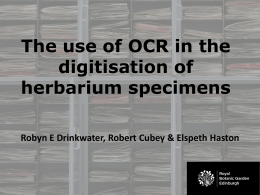The use of OCR in the digitisation of herbarium specimens