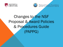 NSF Updates to PAPPG