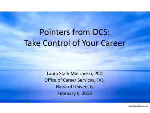 Pointers from OCS: Take Control of Your Career