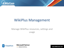 WikiPlus Management - Home