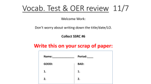 Vocab. Test & OER review