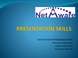 Soft skills and presentation skills – preparation of teams to