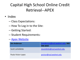 Capital High School Online Credit Retrieval--APEX